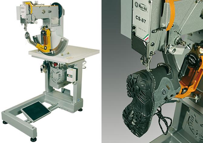 Máquina para coser zapatos con suelas encajadas